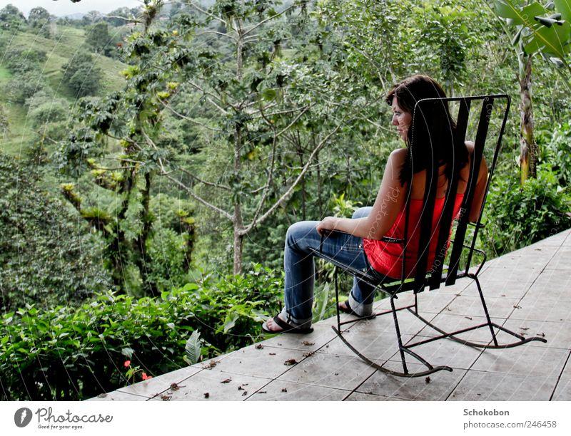 seesaw Mensch Natur Jugendliche grün Baum Erwachsene Wald Erholung Landschaft Garten Denken sitzen natürlich 18-30 Jahre beobachten Jeanshose