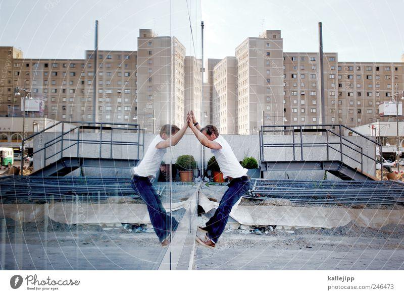 science fiction - double feature Mensch Mann Stadt Erwachsene Leben Fenster Wand Berlin Architektur springen Gebäude Mauer Fassade maskulin Hochhaus Skyline