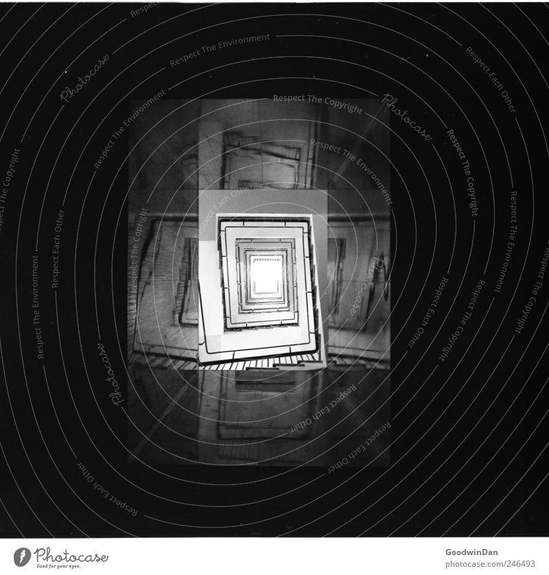 Thanks, India Menschenleer Architektur Treppenhaus dunkel eckig einfach elegant groß kalt modern trist Schwarzweißfoto Innenaufnahme Experiment Tag Kunstlicht