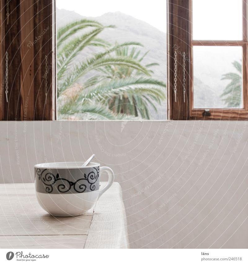 kaffeepause Kaffee Tasse Ferienhaus Tisch Raum ruhig Fenster offen Palme Gomera Farbfoto Innenaufnahme Menschenleer Textfreiraum rechts Tag