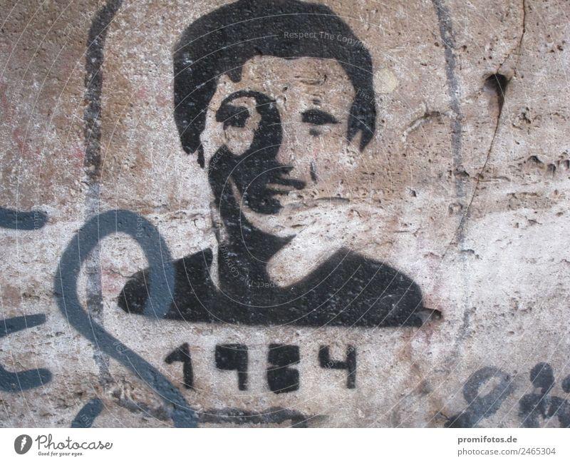 Graffiti showing a person looking like Zuckerberg with 1984 Mensch maskulin Mann Erwachsene Kopf 18-30 Jahre Jugendliche Kunst Gemälde Jugendkultur Subkultur