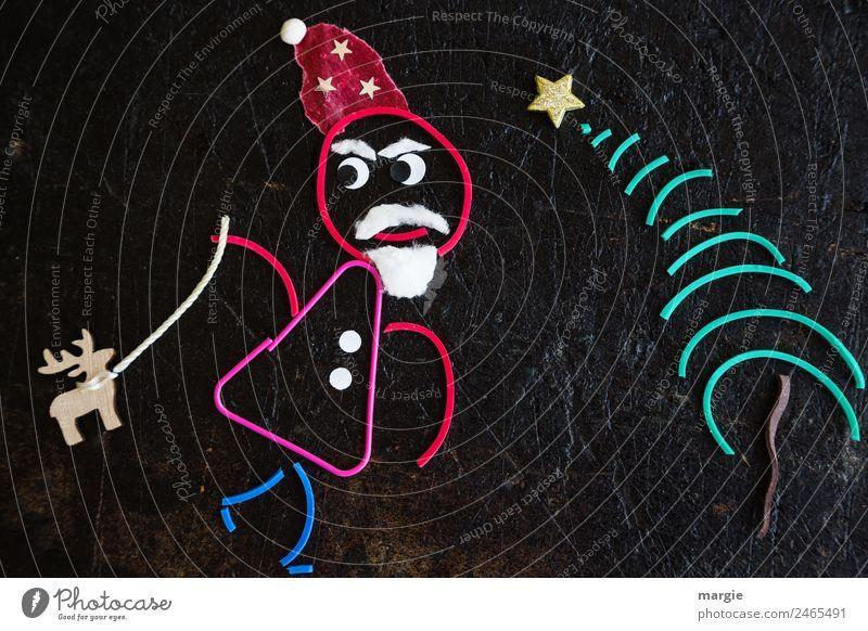Gummiwürmer: Weihnachtsmann Feste & Feiern Weihnachten & Advent maskulin Mann Erwachsene 1 Mensch Mütze Bart Vollbart mehrfarbig schwarz Rentier Weihnachtsbaum