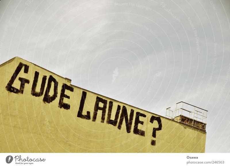 ? Kunst Haus Bauwerk Gebäude Architektur Mauer Wand Schornstein Zeichen Schriftzeichen Graffiti Fröhlichkeit Lebensfreude Gute Laune Fragen Fragezeichen Himmel