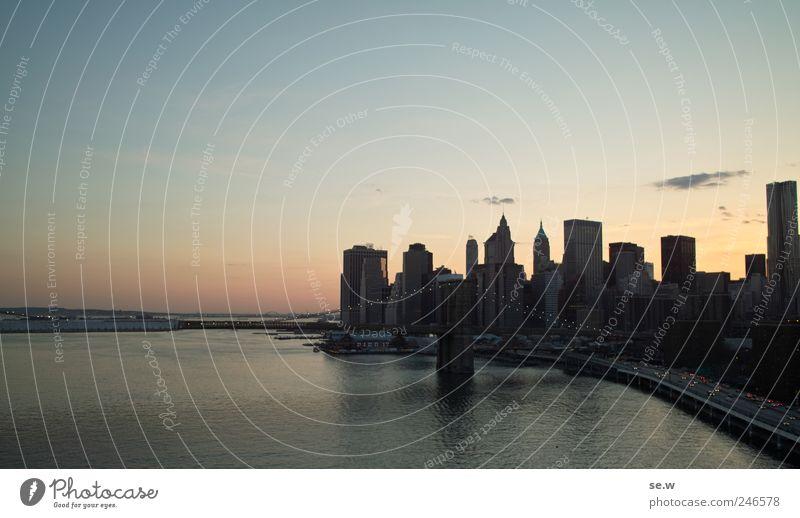 Keene Irene Wasser Himmel Wolkenloser Himmel Sonnenaufgang Sonnenuntergang Schönes Wetter Bucht Meer Manhatten New York City Stadt Stadtzentrum Skyline Brücke