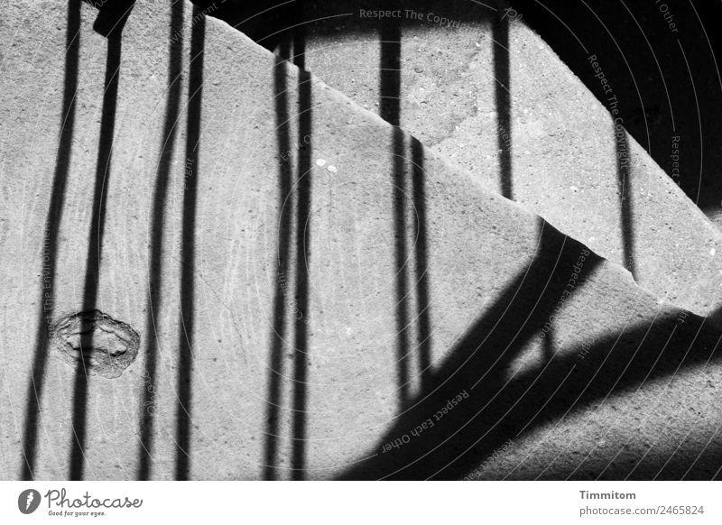 steinig | aber lohnend Stein Beton ästhetisch dunkel schwarz Treppe Geländer Schatten steil eng Schwarzweißfoto Außenaufnahme Menschenleer Tag Licht Kontrast