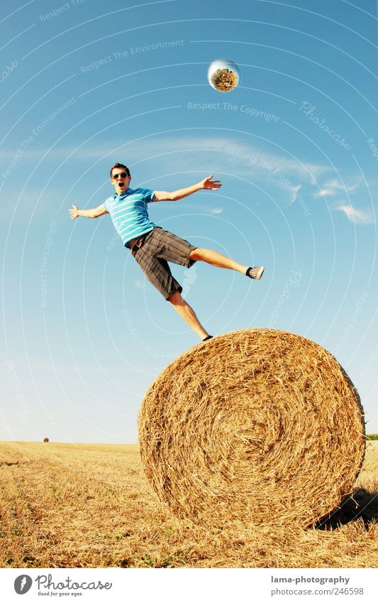 SCHWERKRAFT Freude Mensch maskulin Junger Mann Jugendliche 1 18-30 Jahre Erwachsene Wolkenloser Himmel Sonnenlicht Sommer Feld Strohballen fallen fliegen