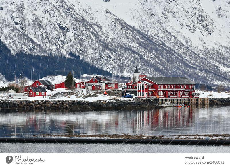 Natur Ferien & Urlaub & Reisen blau schön Farbe Wasser grün Landschaft weiß rot Erholung Haus ruhig Winter Wald Fenster