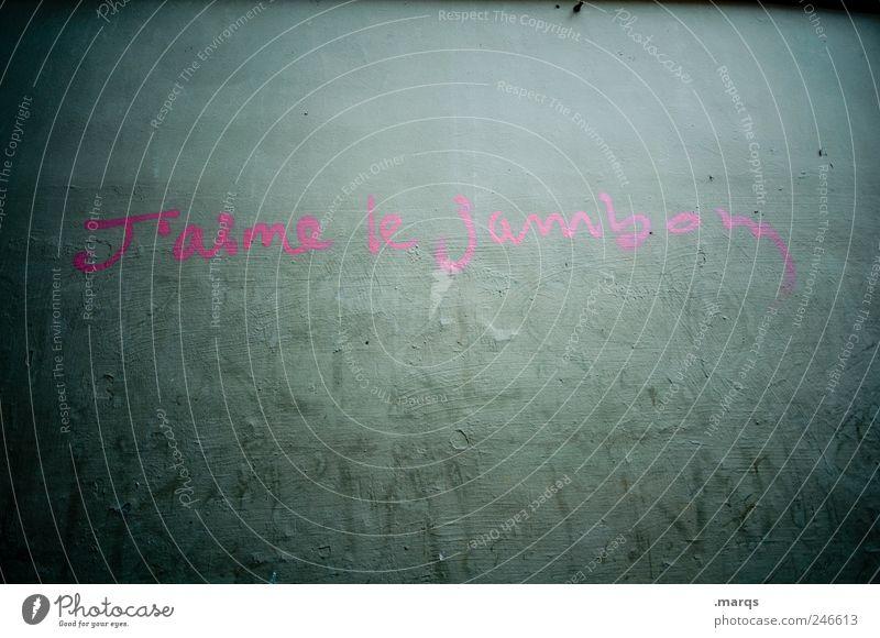 Fleischfresser Schinken Lifestyle Subkultur Mauer Wand Beton Schriftzeichen dunkel trashig grau rosa Akzeptanz gefräßig skurril Französisch Farbfoto