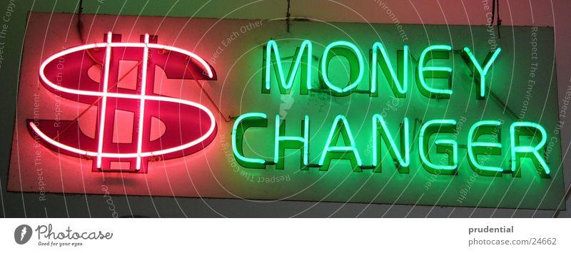 money changer grün rot Geld Neonlicht Wechseln