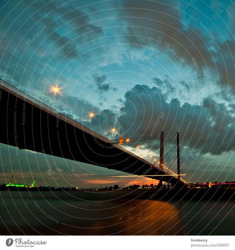 brückentag Wissenschaften Umwelt Landschaft Wasser Himmel Wolken Gewitterwolken Nachthimmel Sommer Klima Klimawandel Flussufer Düsseldorf Stadt Hauptstadt