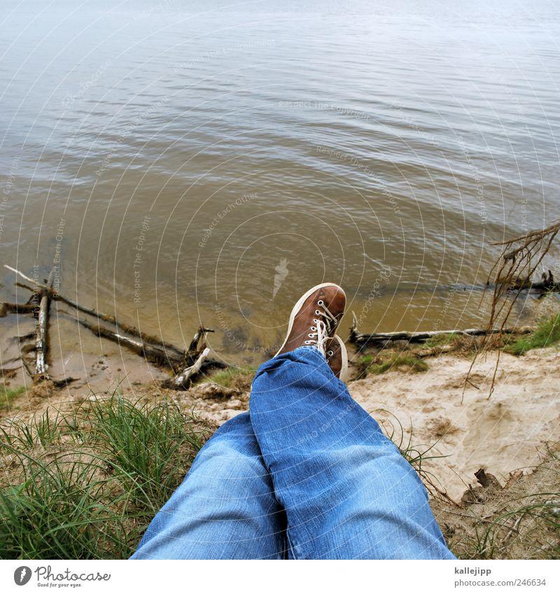 lieblingsplatz Mensch Mann Natur Baum Sommer Strand Ferien & Urlaub & Reisen Meer Ferne Freiheit Landschaft Umwelt Küste Beine Erwachsene Fuß