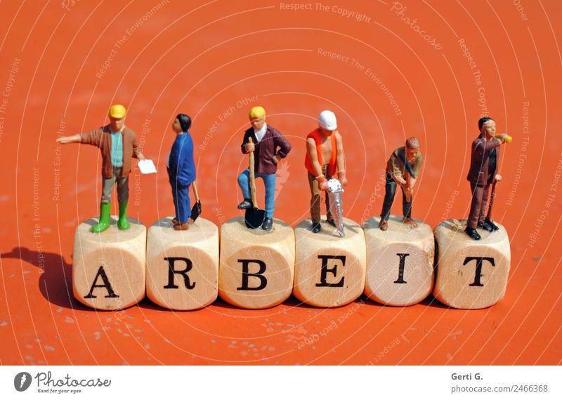 Miniaturfiguren - ARBEIT Mensch Arbeit & Erwerbstätigkeit maskulin Schriftzeichen Kommunizieren Erfolg lernen Zeichen Hilfsbereitschaft Pause Buchstaben