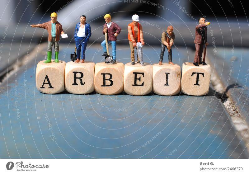 Miniaturfiguren - BauARBEITer Hausbau Arbeit & Erwerbstätigkeit Beruf Handwerker Wirtschaft Baustelle Karriere Erfolg Sitzung Schaufel Presslufthammer Mensch