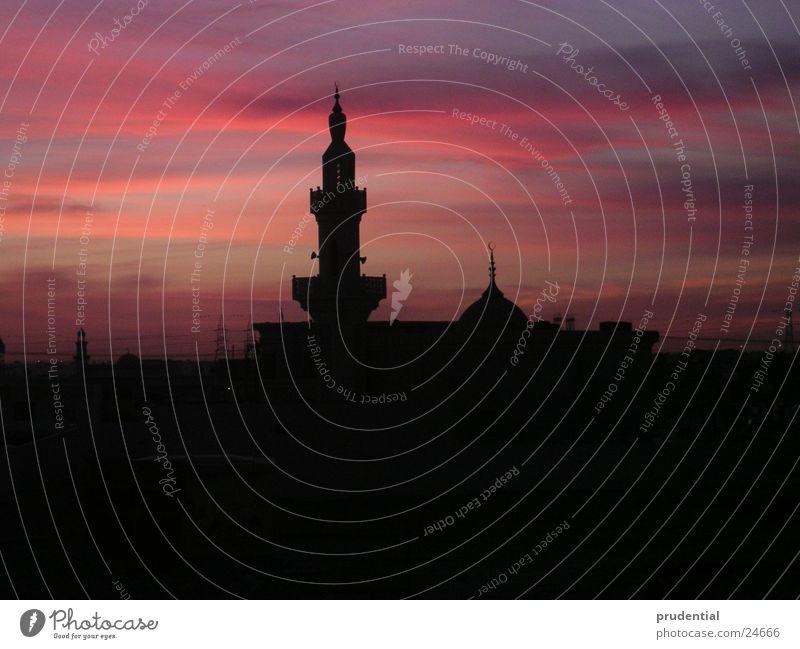 moschee am morgen Architektur Arabien Moschee Roter Himmel