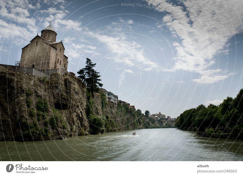 Tiflis Georogien: Metekhi Kirche in der Altstadt am Fluss Kura blau grün Sommer Wasser Landschaft Haus Ferne Architektur Freiheit Luft frei Europa Bauwerk Asien
