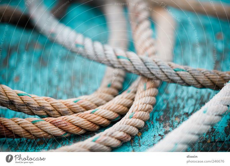 Seilschaft *2* Schifffahrt Fischerboot An Bord Schiffsdeck alt liegen authentisch Farbe Verfall Vergänglichkeit Verbindung Schnur Bootslack abblättern Farbfoto