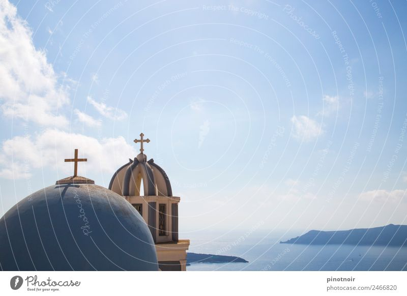 Kapelle mit Aussicht auf Santorini Himmel Ferien & Urlaub & Reisen Sommer blau Wasser Meer Reisefotografie Architektur Religion & Glaube Gebäude Tourismus