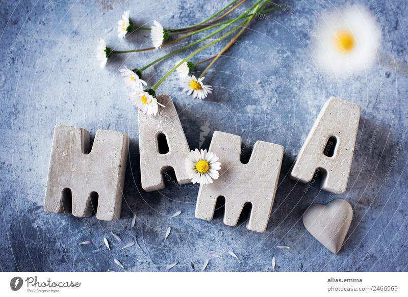 Muttertagsgrüße aus Betonbuchstaben Mai Blume Postkarte danke schön danken Wort Buchstaben selbstgemacht heimwerken Familie & Verwandtschaft Feiertag blau