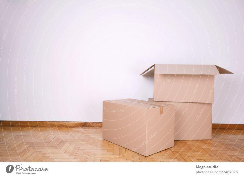 Stapel von Kartons Haus Umzug (Wohnungswechsel) Büro Post Verkehr Wasserfahrzeug Container Verpackung Paket authentisch braun Kasten bewegend Schachtel