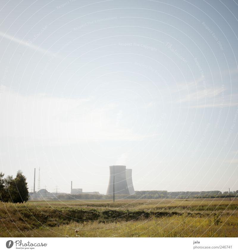 schöne welt? Umwelt Natur Landschaft Himmel Pflanze Baum Gras Wiese Feld Fabrik Bauwerk Gebäude Kernkraftwerk Aggression natürlich blau grün Farbfoto