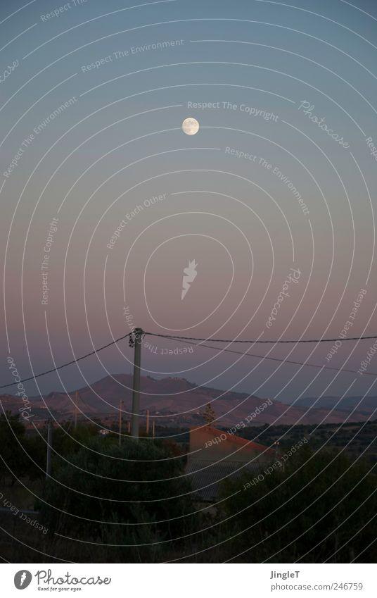 [moonshadow] Himmel Natur Sommer Ferien & Urlaub & Reisen Berge u. Gebirge Landschaft Umwelt Felsen Kabel Hügel Mond Einfamilienhaus Wolkenloser Himmel Vollmond