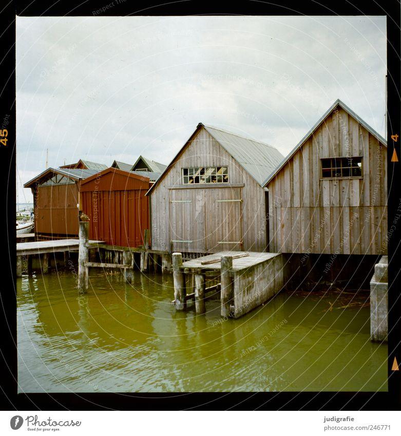 Am Bodden Umwelt Natur Wasser Himmel Wolken Küste Seeufer Vorpommersche Boddenlandschaft Darß Haus Hütte Hafen Bauwerk Gebäude Bootshaus Fassade einzigartig
