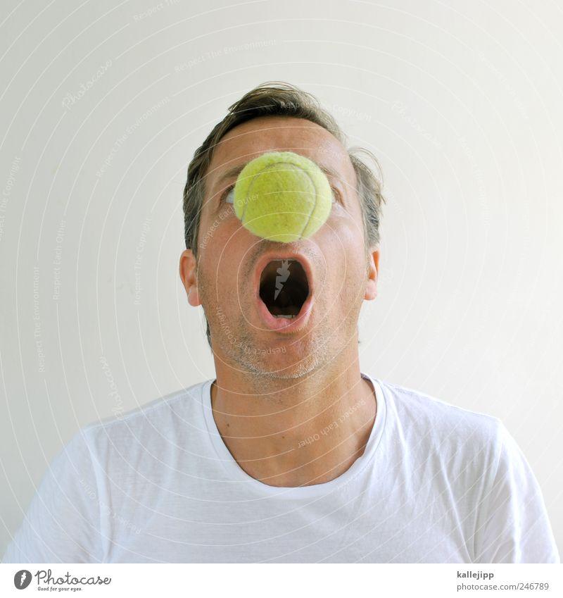 nasentennis Ballsport Sportler Haut Kopf Haare & Frisuren Gesicht Nase Mund 1 Mensch Tennis Clown Tennisball staunen Tennisspieler Farbfoto Innenaufnahme