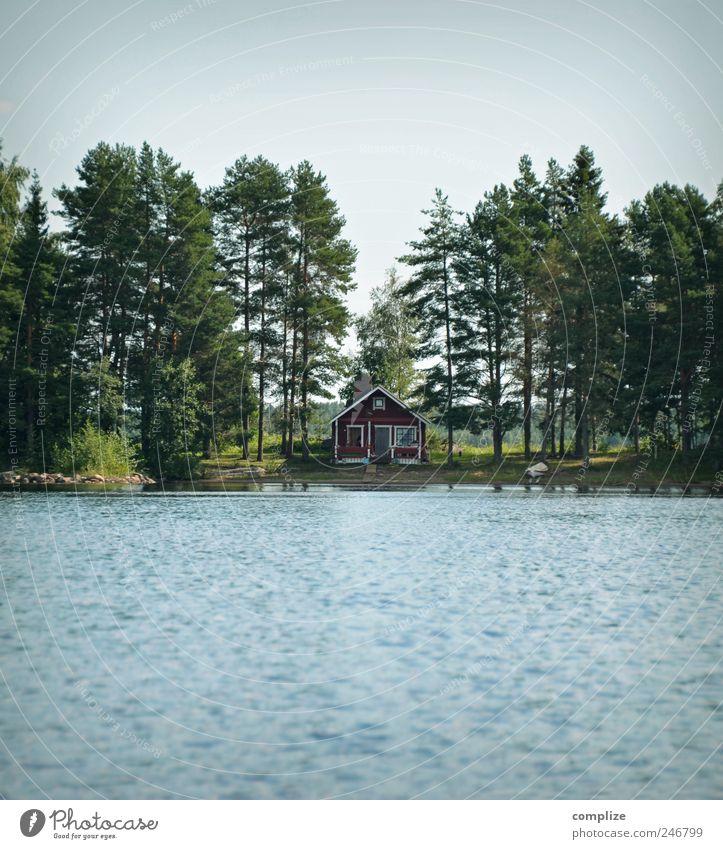 Möcki Natur Wasser blau Sommer Ferien & Urlaub & Reisen ruhig Einsamkeit Wald Erholung Umwelt Küste See Schwimmen & Baden frei Häusliches Leben Hütte