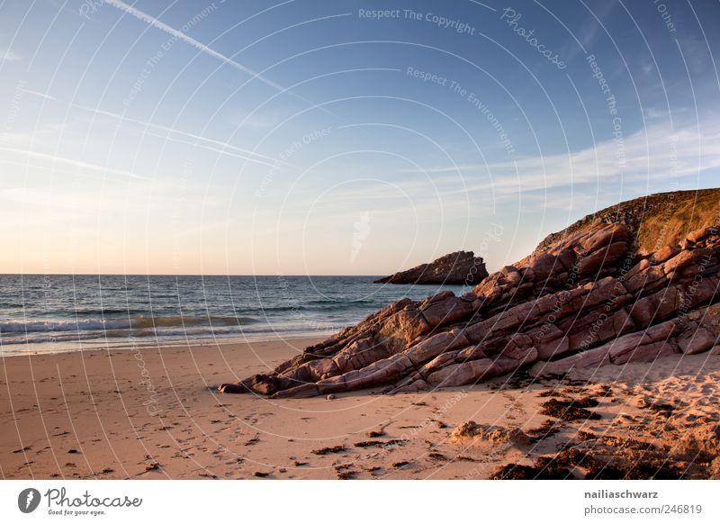 Bretonische Abendstimmung Himmel Natur Wasser blau Sommer Ferien & Urlaub & Reisen Meer Strand Erholung Landschaft Sand Küste braun gold ästhetisch Europa