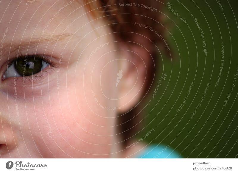 Rotschopf auf grün Mensch Kind Jugendliche Auge Ohr 1 rothaarig beobachten glänzend Blick authentisch Freundlichkeit Fröhlichkeit groß gut nah natürlich Neugier