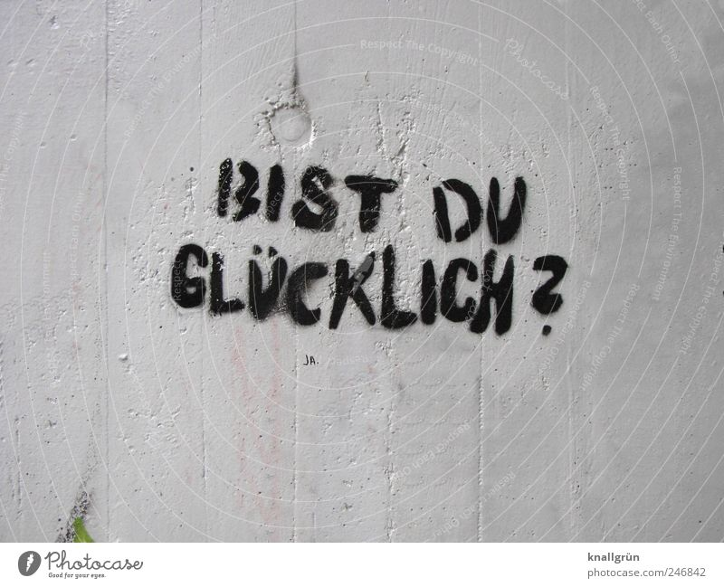 BIST DU GLÜCKLICH? Mauer Wand Zeichen Schriftzeichen Graffiti Kommunizieren schwarz weiß Gefühle Glück Lebensfreude Erwartung Neugier Stimmung Fragen
