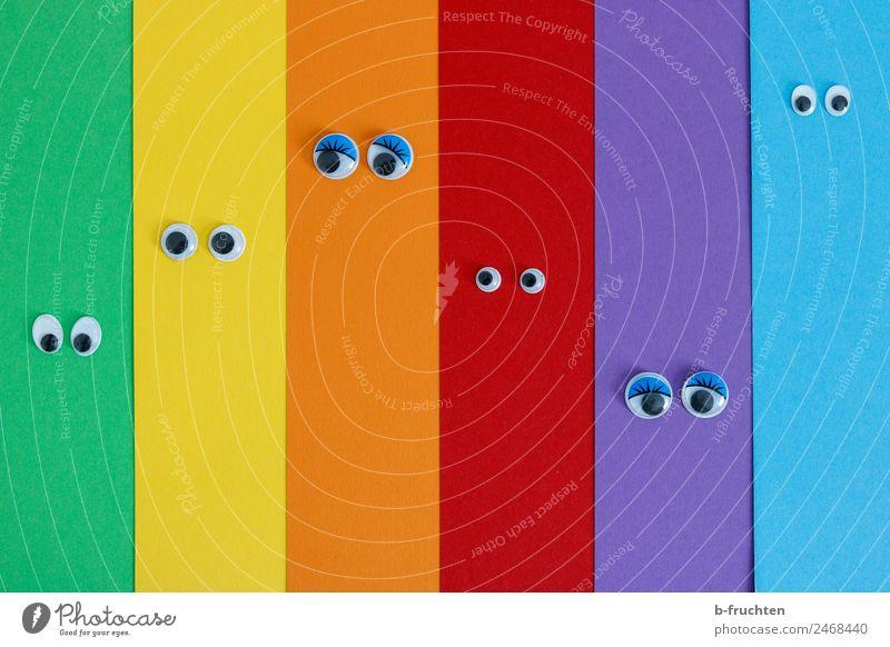Diversität Erwachsenenbildung Auge Papier Zeichen Streifen beobachten Kommunizieren Fröhlichkeit Unendlichkeit mehrfarbig Freundschaft Zusammensein