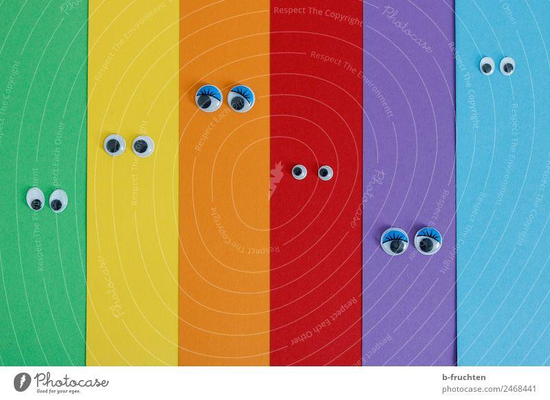 Farbkartonstreifen mit Wackelaugen Auge Papier Streifen Kommunizieren Blick Freundlichkeit Fröhlichkeit Zusammensein mehrfarbig Freude Gastfreundschaft