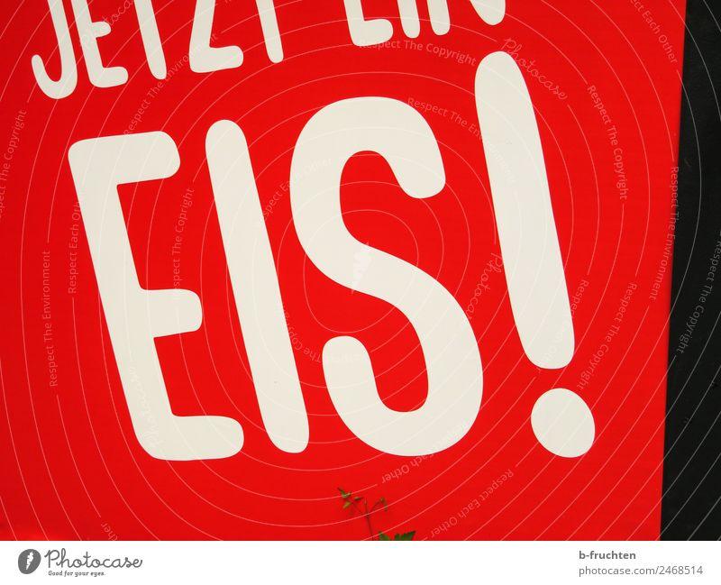 Jetzt ein Eis! Strandbar Essen Schriftzeichen Schilder & Markierungen Kommunizieren rot Speiseeis Wort Sommer Ferien & Urlaub & Reisen Tafel Beschriftung lecker