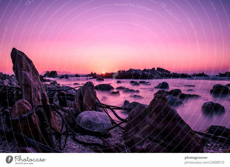 Rosa Felsiger Sonnenuntergang Ferien & Urlaub & Reisen Tourismus Abenteuer Sightseeing Sommer Strand Meer Umwelt Natur Landschaft Erde Wasser Himmel