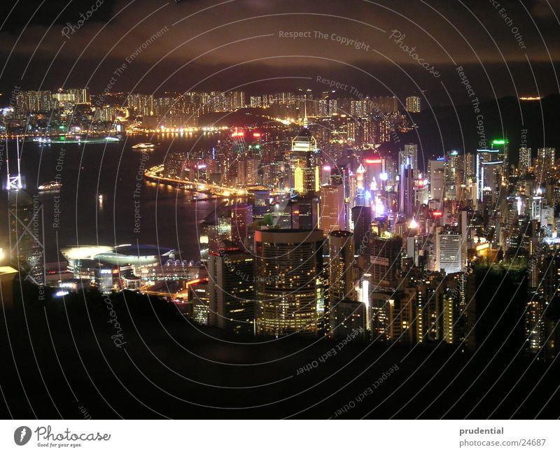 hong kong bei nacht Meer Stadt Erfolg