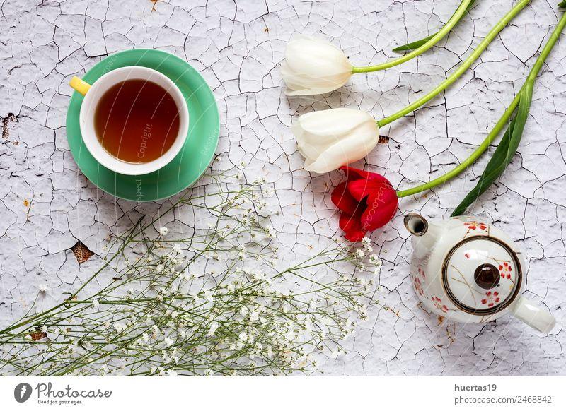 Tasse Tee mit floralem Hintergrund Getränk Heißgetränk Lifestyle elegant Stil Design Valentinstag Natur Pflanze Blume Tulpe Blatt Blumenstrauß natürlich grün
