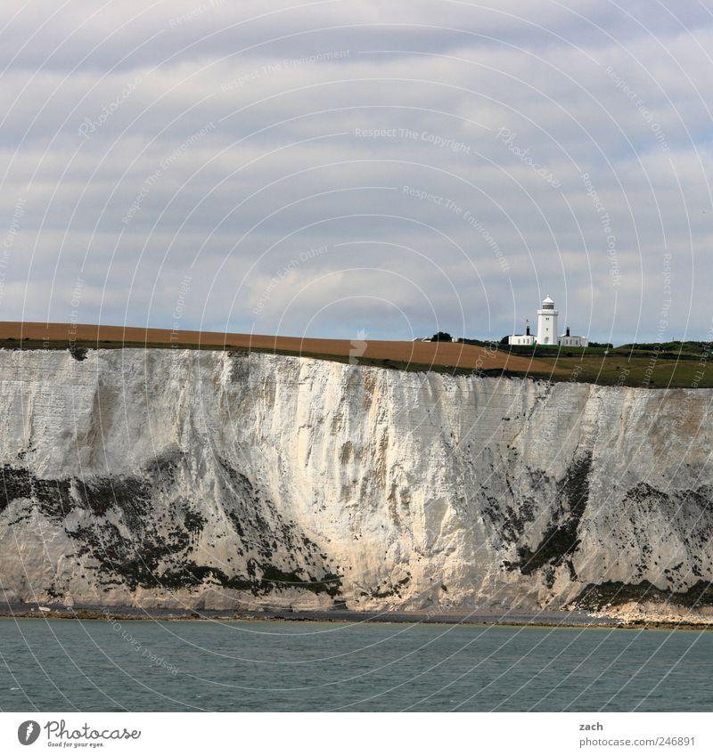 white cliffs Natur Landschaft Wasser Pflanze Gras Hügel Felsen Küste Nordsee Meer Ärmelkanal White Cliffs Klippe Kreidefelsen Sehenswürdigkeit Stein Sand weiß