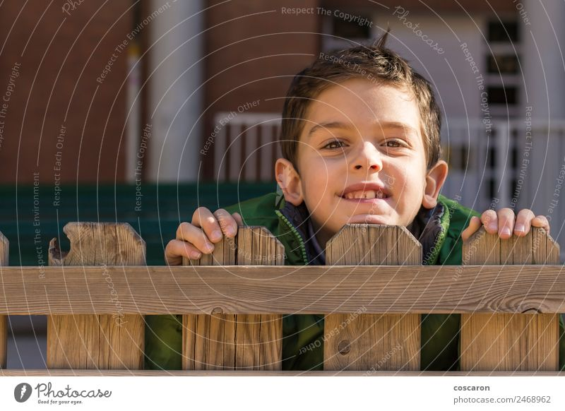 Süßer, gutaussehender Junge schaut über einen Holzzaun mit grünem Mantel. Freude Gesicht Spielen Kind Mann Erwachsene Kindheit Hand beobachten klein Neugier