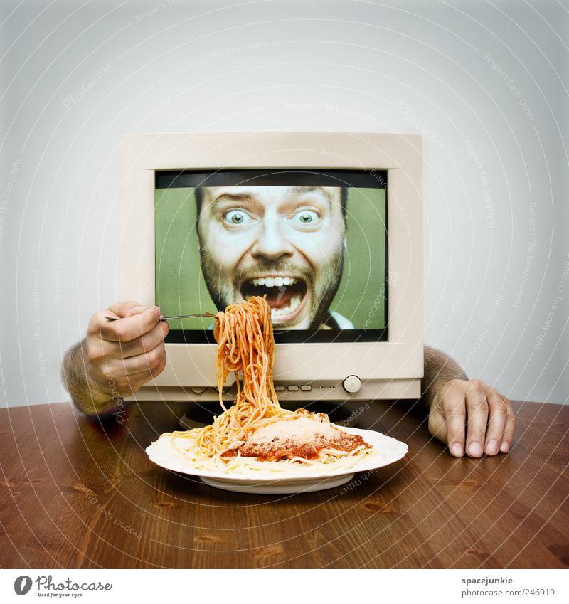 Mahlzeit! Mensch Mann grün rot Erwachsene Ernährung Computer lustig Essen maskulin verrückt außergewöhnlich Internet Telekommunikation Teller genießen