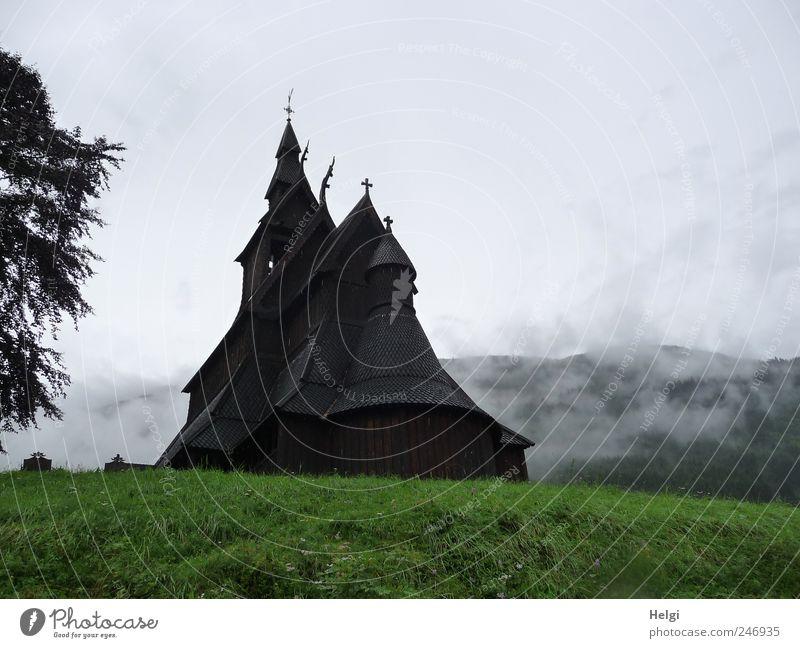 geheimnisvoll... Ferien & Urlaub & Reisen Tourismus Sightseeing Sommer Berge u. Gebirge Natur schlechtes Wetter Nebel Baum Gras Norwegen Dorf Kirche Bauwerk