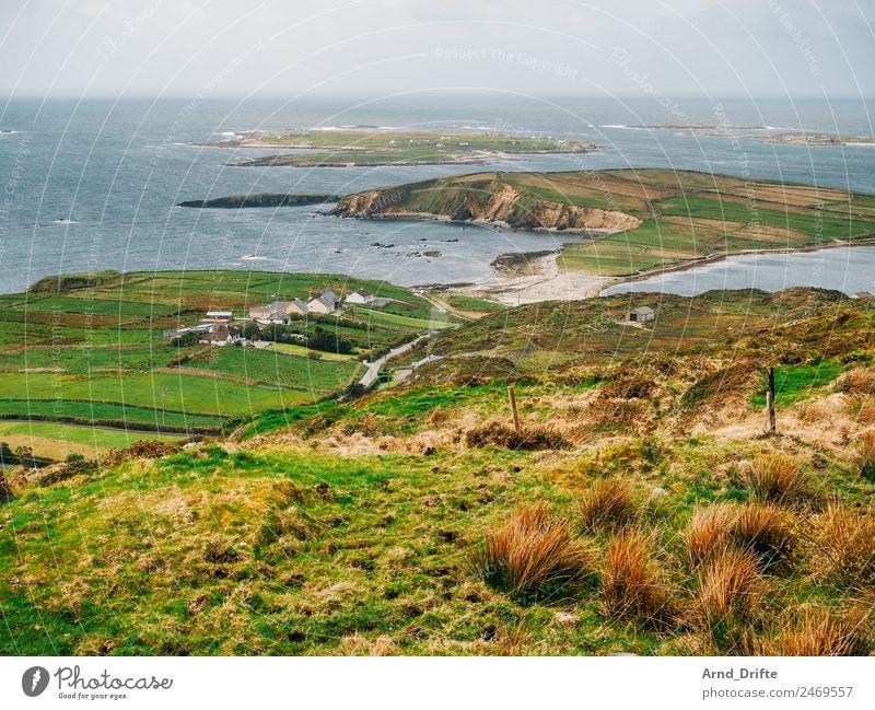 Irland - Sky Road Natur Landschaft Pflanze Luft Wasser Himmel Frühling Sommer Schönes Wetter Sträucher Wiese Feld Hügel Wellen Küste Bucht Fjord Meer Atlantik
