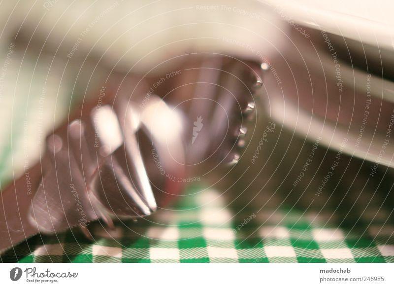 Gabelstapler Lebensmittel Ernährung Mittagessen Picknick Teller Besteck Messer Lifestyle Häusliches Leben Kitsch kariert Spießer grün Gastronomie