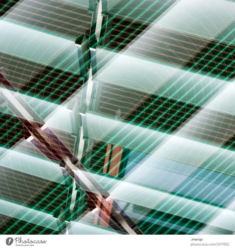 Linientreu Stil Design Fassade Streifen leuchten außergewöhnlich Coolness trendy verrückt grün Farbe Perspektive kariert Farbfoto Nahaufnahme Experiment