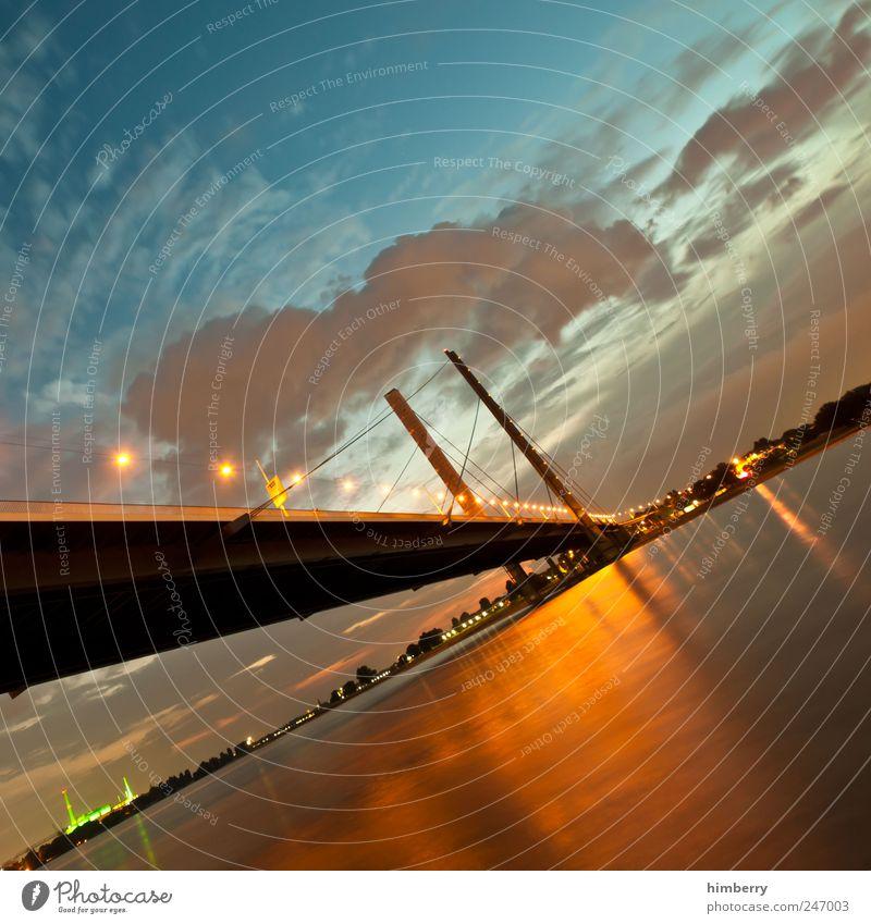 schlagseite Kunst Umwelt Himmel Wolken Nachthimmel Sonnenaufgang Sonnenuntergang Sonnenlicht Sommer Klima Wetter Schönes Wetter Düsseldorf Brücke Bauwerk
