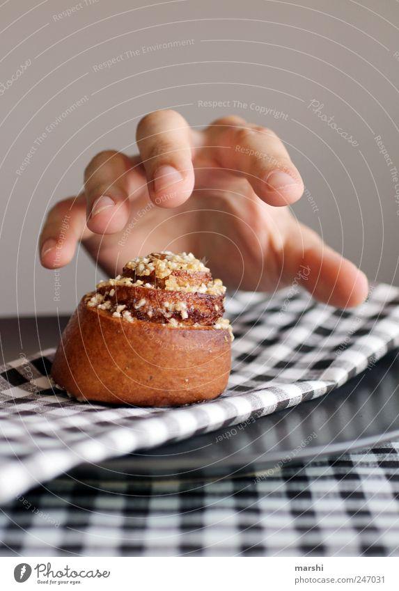 Versuchung Lebensmittel Teigwaren Backwaren Kuchen Süßwaren Ernährung Essen süß braun Hand Gier lecker Appetit & Hunger Farbfoto Innenaufnahme verführerisch