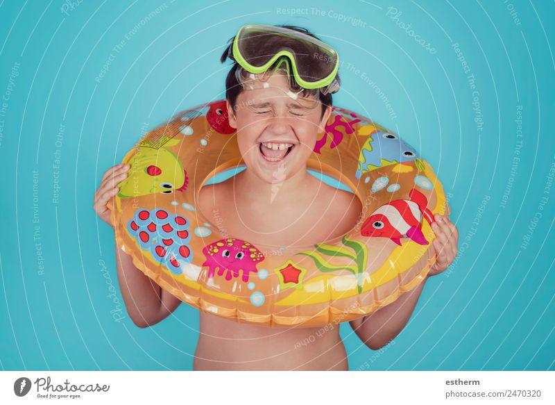 Kind Mensch Ferien & Urlaub & Reisen Sommer Sonne Meer Freude Strand Lifestyle Sport lachen Junge Schwimmen & Baden Ausflug Freizeit & Hobby maskulin