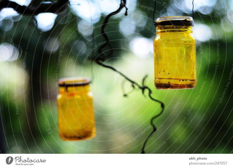 Windlichter Garten Dekoration & Verzierung Kerze Glas rund gelb grün Warmherzigkeit Romantik Stimmung gemütlich selbtgemacht gebastelt bemalt Farbfoto