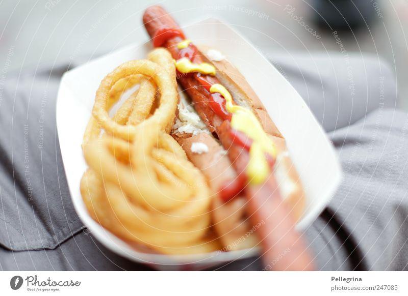 oI Wurstwaren Ernährung Mittagessen Abendessen Fastfood hocken Duft gelb Farbfoto Außenaufnahme Menschenleer Tag Schwache Tiefenschärfe