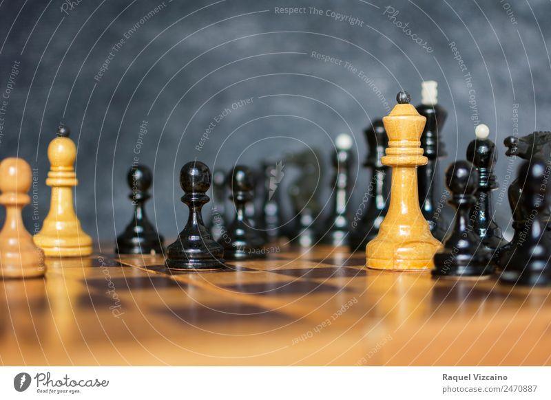 Die Dame in der Schachpartie. Lifestyle Glück Freizeit & Hobby Spielen Sport Fitness Sport-Training Erfolg Verlierer Sportveranstaltung Bildung Berufsausbildung